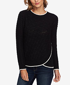 CeCe Cable-Knit Faux-Wrap Sweater