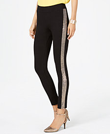 Thalia Sodi Sequined Varsity-Stripe Skinny Pants, Created for Macy's