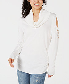 Hooked Up by IOT Juniors' Cowlneck Cold-Shoulder Sweater