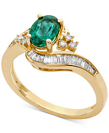 Emerald (7/8 ct. t.w.) & Diamond (3/8 ct. t.w.) Ring (Also in Sapphire & Tanzanite)