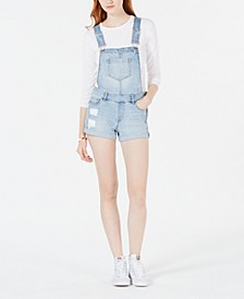 Juniors' Cuffed Denim Shortalls, Created for Macy's