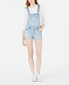 Dollhouse Juniors' Cuffed Denim Shortalls, Created for Macy's