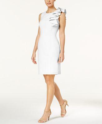 Petite Ruffled Sheath Dress