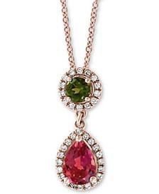 "EFFY® Multi-Tourmaline (1 ct. t.w.) & Diamond (1/8 ct. t.w.) Drop 18"" Pendant Necklace in 14k Rose Gold"