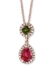 "EFFY® Multi-Tourmaline (1 ct. t.w.) & Diamond (1/8 ct. t.w.) Drop 18"" Pendant Necklace in 14k Rose Gold"