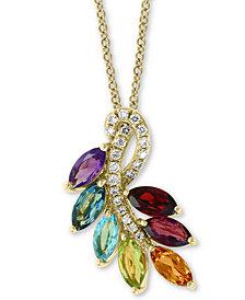 "EFFY® Multi-Gemstone (2 ct. t.w.) & Diamond (1/10 ct. t.w.) 18"" Pendant Necklace in 14k Gold"