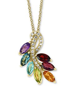 "EFFY® Multi-Gemstone (2 ct. t.w.) & Diamond (1/10 ct. t.w.) 18"" Pendant Necklace in 14k Gold"