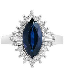 EFFY® Sapphire (2-1/10 ct. t.w.) & Diamond (1/2 ct. t.w.) Ring in 14k White Gold