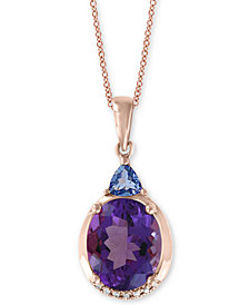 "EFFY® Amethyst (3-1/3 ct. t.w.) & Tanzanite (1/3 ct. t.w.) 18"" Pendant Necklace in 14k Rose Gold"