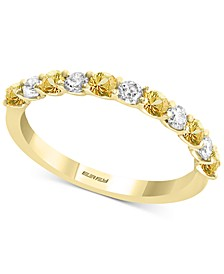 EFFY® White Sapphire (1/2 ct. t.w.) & Yellow Sapphire (3/8 ct. t.w.) Band in 14k Gold