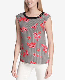 Calvin Klein Hardware-Detail Printed Top