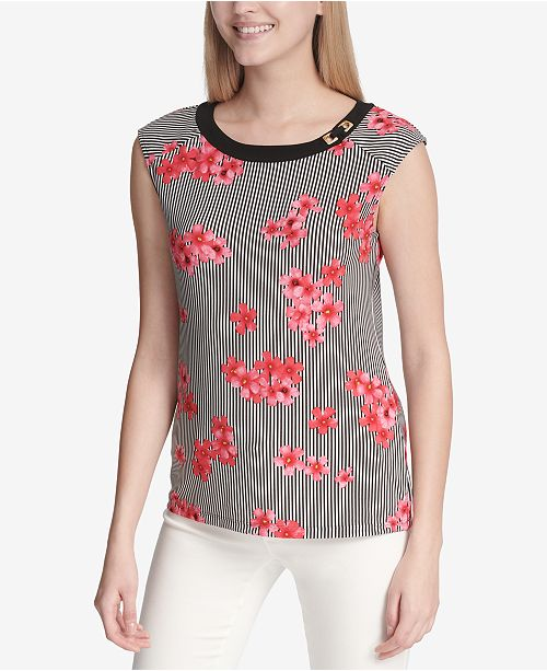 bbee3f4f2e03a Calvin Klein Hardware-Detail Printed Top - Tops - Women - Macy s