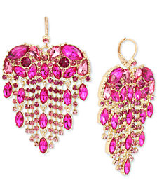 Betsey Johnson Gold-Tone Crystal Heart Fringe Chandelier Earrings