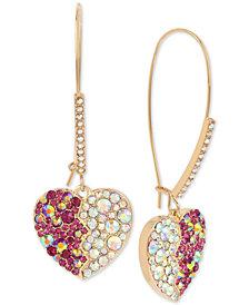 Betsey Johnson Gold-Tone Crystal Heart Drop Earrings
