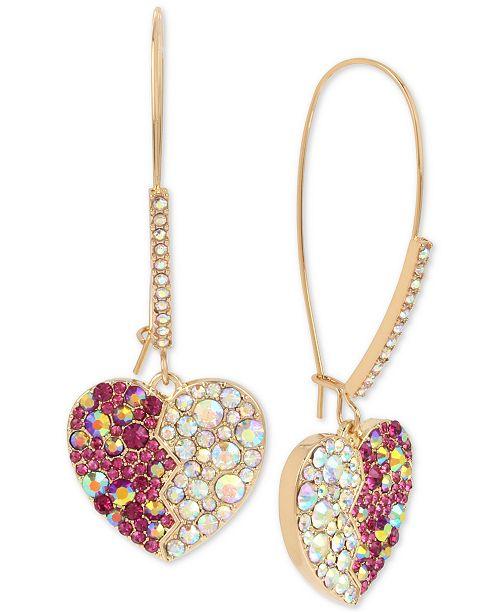 b4b46ad85 Betsey Johnson Gold-Tone Crystal Heart Drop Earrings & Reviews ...