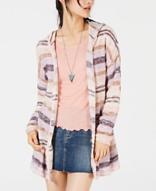 American Rag Juniors' Striped Hoodie Cardigan, Created for Macy's
