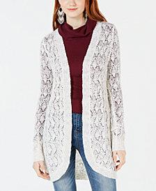 American Rag Juniors' Crochet Open-Front Cardigan, Created for Macy's