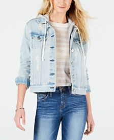 Kendall + Kylie Cotton Ripped Hooded Denim Jacket