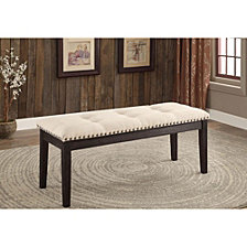 Contemporary Style Button Tufted Bench Cushion Bench
