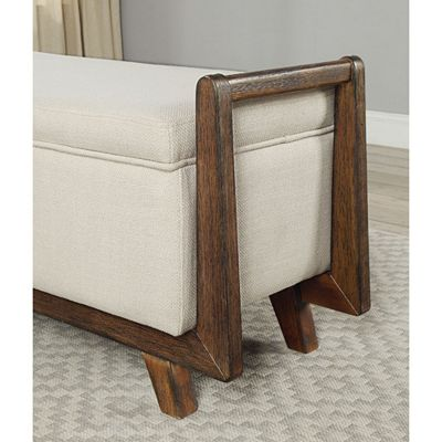 Benzara Fabric Upholstered Storage Bench With Wooden Frame