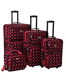 4PCE Pink Dots Softside Luggage Set