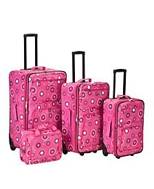 4PCE Pink Pearl Softside Luggage Set