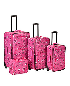 Rockland 4-Piece Pink Pearl Luggage Set