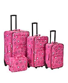 Rockland 4PCE Pink Pearl Softside Luggage Set