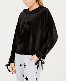 Material Girl Active Juniors' Lace-Up Velour Hoodie, Created for Macy's