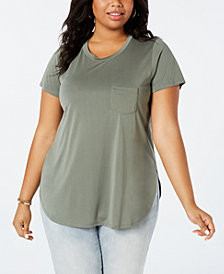 Celebrity Pink Trendy Plus Size High-Low Tunic