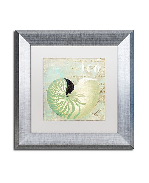 """Trademark Global Color Bakery 'Turquoise Beach I' Matted Framed Art, 11"""" x 11"""""""