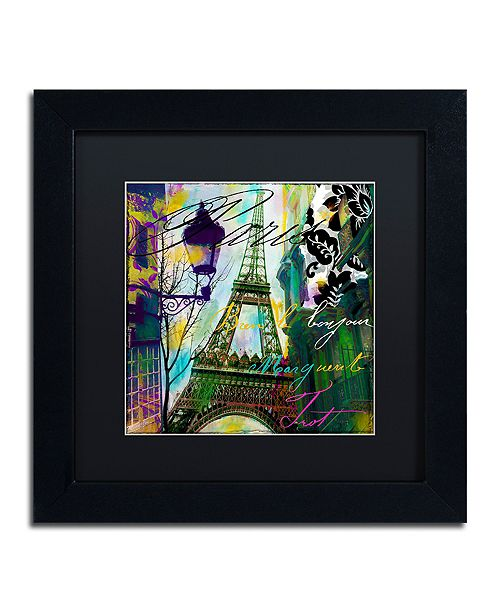"""Trademark Global Color Bakery 'To Paris With Love I' Matted Framed Art, 11"""" x 11"""""""