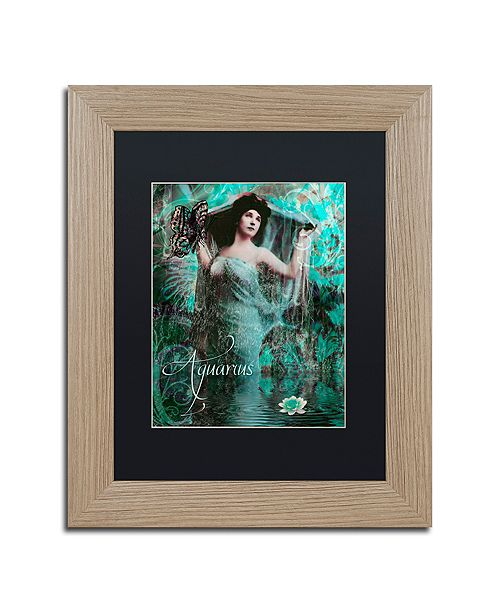 "Trademark Global Color Bakery 'Art Nouveau Zodiac Aquarius' Matted Framed Art, 11"" x 14"""
