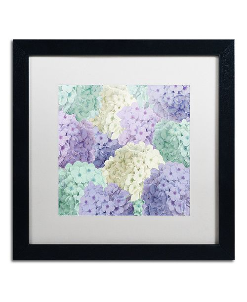 "Trademark Global Color Bakery 'Hortensia Groundless Cool Tones' Matted Framed Art, 16"" x 16"""