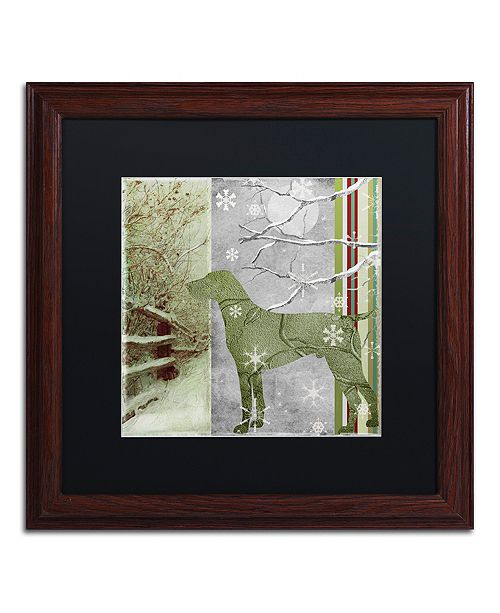 """Trademark Global Color Bakery 'Country Xmas Dog' Matted Framed Art, 16"""" x 16"""""""