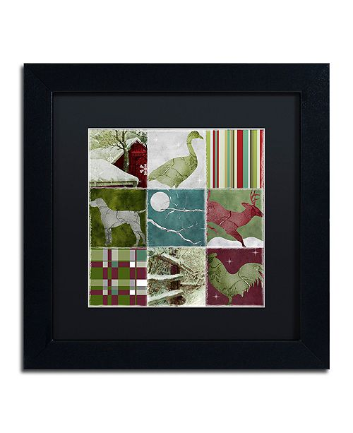 "Trademark Global Color Bakery 'Country Christmas Nine' Matted Framed Art, 11"" x 11"""