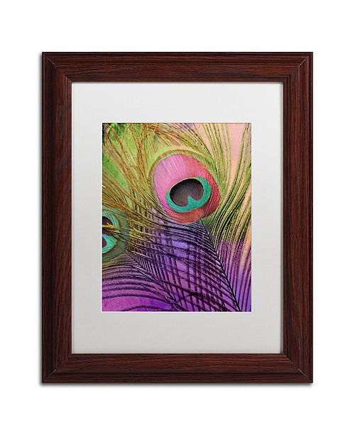 """Trademark Global Color Bakery 'Peacock Candy Iii' Matted Framed Art, 11"""" x 14"""""""