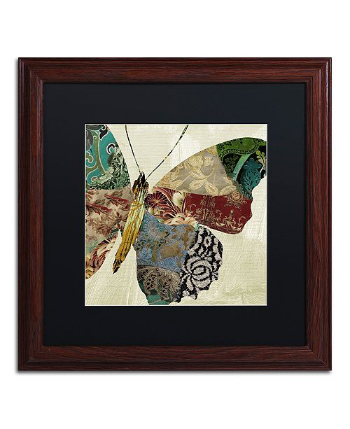 "Trademark Global Color Bakery 'Butterfly Brocade Ii' Matted Framed Art, 16"" x 16"""