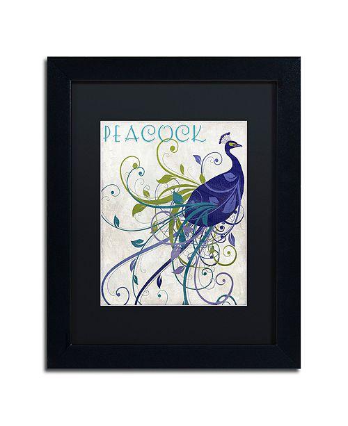 "Trademark Global Color Bakery 'Peacock Nouveau I' Matted Framed Art, 11"" x 14"""
