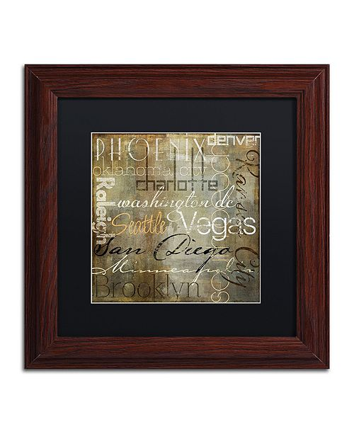 "Trademark Global Color Bakery 'Cities Of The World Ii' Matted Framed Art, 11"" x 11"""