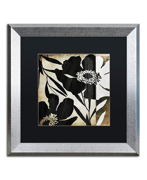 "Trademark Global Color Bakery 'Floral Jungle Lines Ii' Matted Framed Art, 16"" x 16"""