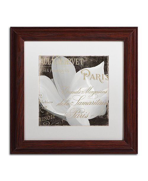 "Trademark Global Color Bakery 'Fleurs Blanc Ii' Matted Framed Art, 11"" x 11"""