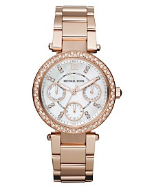 Michael Kors Women's Chronograph Mini Parker Rose Gold-Tone Stainless Steel Bracelet Watch 33mm MK5616