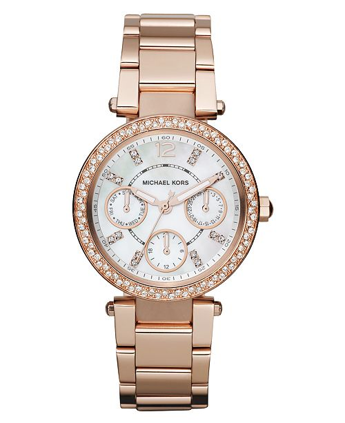 6b6d605f145b Michael Kors Women s Chronograph Mini Parker Rose Gold-Tone Stainless Steel  Bracelet Watch 33mm MK5616 ...