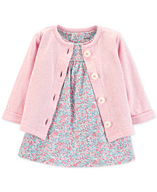 Carter's Baby Girls 2-Pc. Floral-Print Bodysuit Dress & Cardigan Set