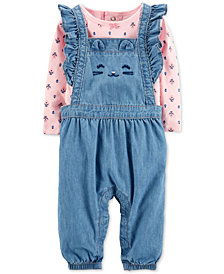Carter's Baby Girls 2-Pc. Cotton Floral-Print Top & Chambray Overalls Set