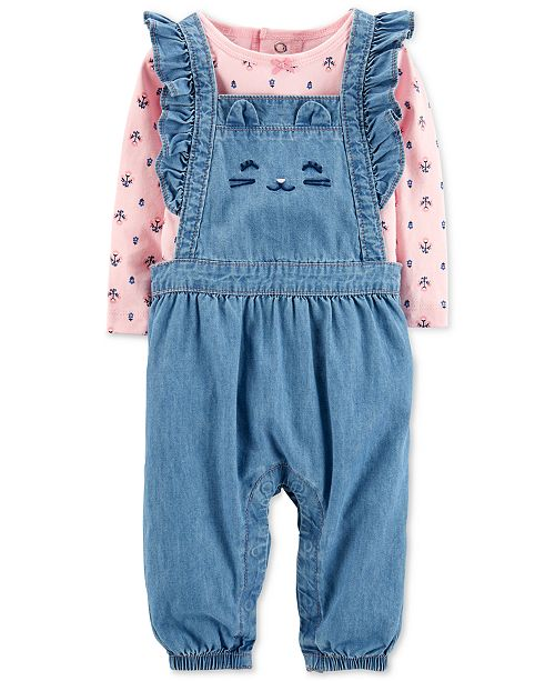 c93ab9159 ... Carter's Baby Girls 2-Pc. Cotton Floral-Print Top & Chambray Overalls  ...