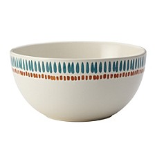 Cucina Sun Daisy Dinnerware 5.5-Inch Agave Blue and Pumpkin Orange Stoneware Cereal Bowl