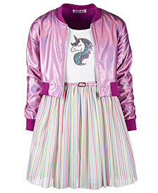 Beautees Big Girls 2-Pc. Bomber Jacket & Rainbow Striped Dress Set