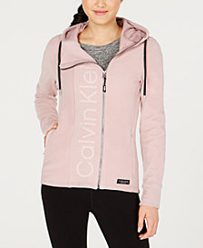 Calvin Klein Performance Asymmetrical-Zip Logo Hooded Fleece Jacket
